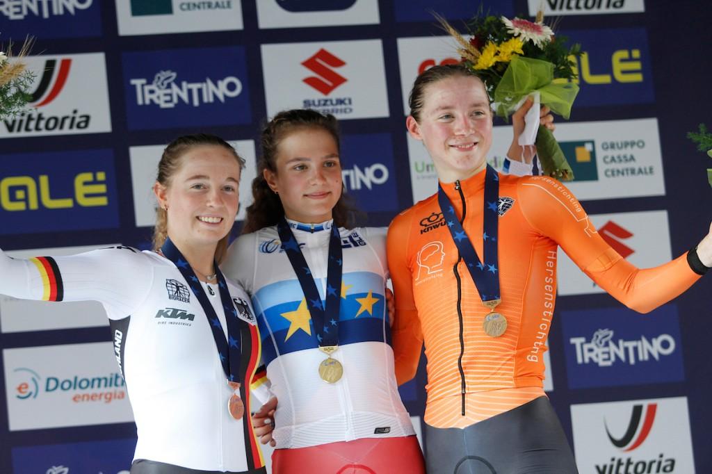 Uijen is derde op EK Tijdrijden bij junior-vrouwen